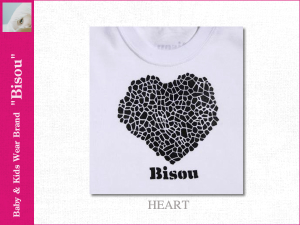 画像2: 【Bisou(ビズゥ)】HEART(ホワイト)/ベビィ&キッズ用半袖Tシャツ